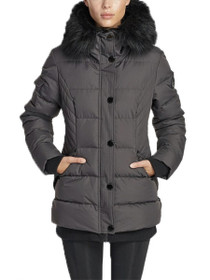 Aspen Short Length Hooded Vegan Storm Jacket in Slate