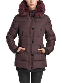 Aspen Short Length Hooded Vegan Storm Jacket in Wine
