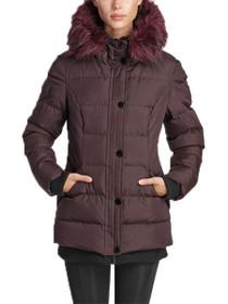 Aspen Short Length Hooded Vegan Storm Jacket in Wine