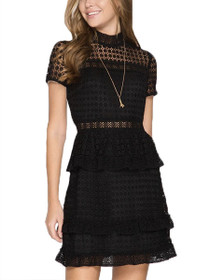 Maisey Mock Neck Short Sleeve Lace Dress
