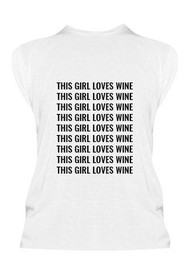 This Girl Loves Wine Graphic Cuff Tee