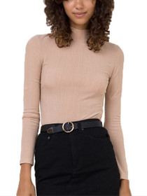 Mesh Rib Lace Up Long Sleeve Top