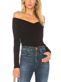 Fitted Wrap Bardot Long Sleeve Knit Blouse