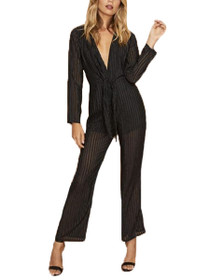 Forever Or Never Long Sleeve Plunging Jumpsuit