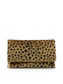 Leo Vegan Faux Hair Foldover Clutch