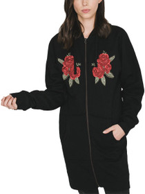 Blonde Flora Embroidered Zip Tunic Sweater in Black