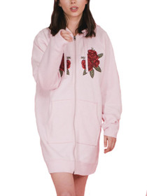 Blonde Flora Embroidered Zip Tunic Sweater in Pink