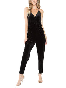 Harper Sleeveless Velvet Wrap Jumpsuit