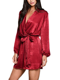 Rosen Long Sleeve Mini Wrap Dress