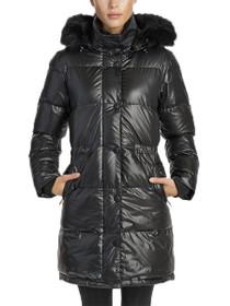 Kenzi Vegan Quilted Long Anorak Coat in Black