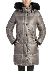 Kenzi Vegan Quilted Long Anorak Coat in Grey