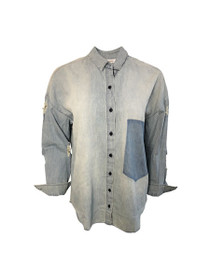 Never Again Disressed Chambray Shirt
