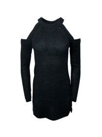 Break On Me Cold Shoulder Waffle Knit Sweater Dress