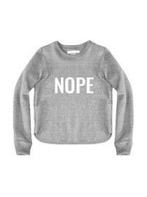 Nope Cropped Graphic Pullover Sweater
