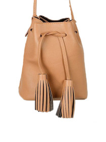 Tassel Drawstring Vegan Bucket Bag
