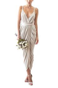 Tulip Midi Wrap Dress in Champagne