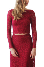 Luxe Lace Long Sleeve Backless Top in Burgundy