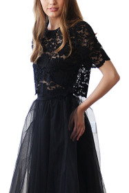 Luxe Lace Short Sleeve Top in Black