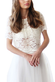Luxe Lace Short Sleeve Top in Ivory