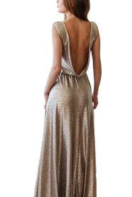 Glamorous Open-Back Maxi Dress in Gold