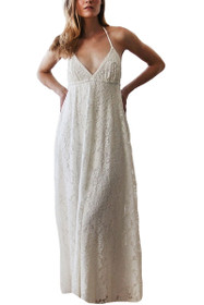 Darling Lace V-neck Maxi Dress in White