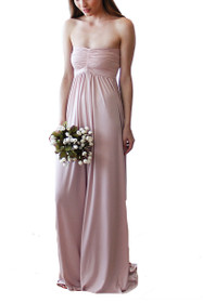 Lovely Strapless Maxi Gown in Blush