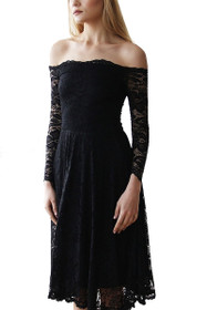 Prim Off Shoulder Lace Midi Dress