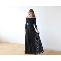 Elegant Off Shoulder Long Sleeve Lace Maxi Dress