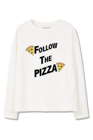 Follow The Pizza Graphic Crewneck Sweatshirt