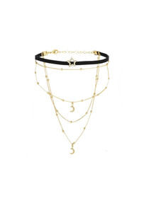 Rosalee Layered Choker in Black and Gold