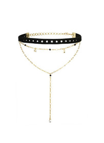 Skipping Prom Layered Choker in Black and Gold