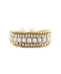 Bodacious Bracelet in Beige and White Fossil
