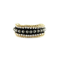 Bodacious Bracelet in Black and Pyrite