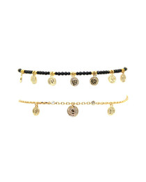 Soulful Coin Choker Set in Onyx and Gold