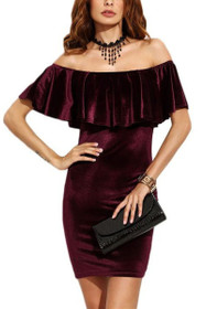 Viola Ruffle Off The Shoulder Velvet Dress