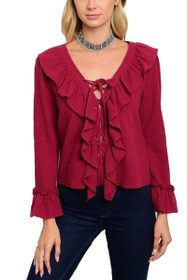 Scarlet Ruffle Blouse Top