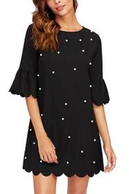 Melli Pearl Embellished Scallop Hem Shift Dress