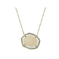 Heptagon Smokey Quartz  16 Pendant Necklace