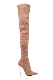 Blushing Faux Suede Over The Knee Boot in Blush