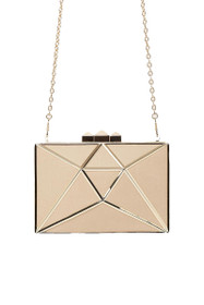 Charlotte Hardcase Metallic Clutch in Nude