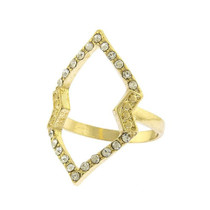 Crystal Geometric Outlined Midi Ring