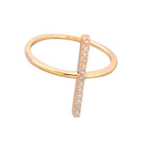 Pave Crystal Bar Ring
