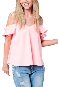 Lesia Cold Should Ruffle Top in Pink