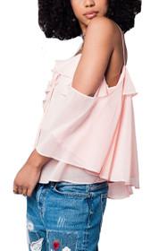 Lauren Cold Shoulder Top in Blush