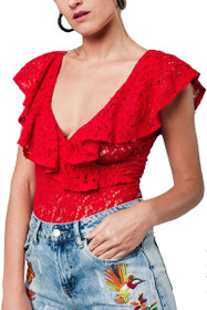 Macie Lace Ruffle Bodysuit