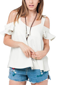 Lesia Cold Shoulder Ruffle Top in White