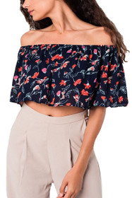 Ally Floral Off Shoulder Top in Navy