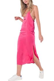 Rosie T Back Midi Slip Dress in Pink