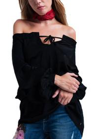 Gia Off Shoulder Top in Black