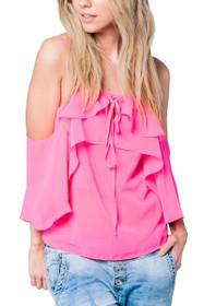 Lauren Cold Shoulder Top in Pink